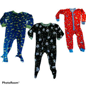 Multiple Brand 3T Boys' 3-Lot Warm Footed Pajamas